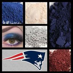 Younique New England Patriots eyes! Use Twitterpated, Feisty, Heartbroken, Curious, and Awestruck.
