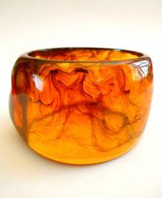 Lucite Bracelet Bangle Dark Amber Swirl Vintage by RenaissanceFair