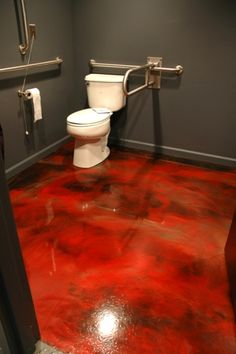 Concrete Epoxy Flooring Floor Bat Small Bathroom Red Plumbing