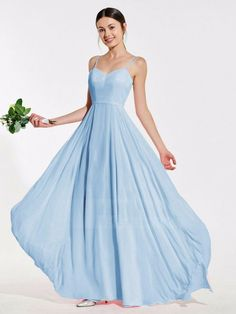 Lilly - Pale Blue Pale Blue Bridesmaid Dresses, Blue Wedding Dresses, Bleu Pale, Blue Gown, Affordable Dresses, Ball Gown Dresses, Color Shades, Bridal Boutique, Chiffon