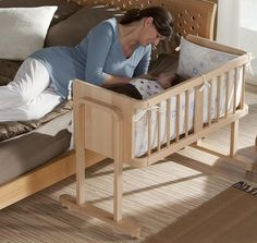 Interesting Rustic Bed Side Bassinet Idea