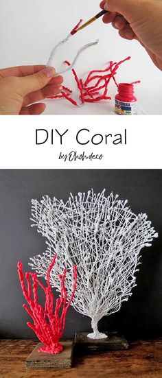 Learn how to make faux coral. This step by step shows you how to make different coral shapes using a glue gun. The perfect addition to any coastal decor. Seashell Crafts, Beach Crafts, Diy Crafts, Seashell Art, Garden Crafts, Quick And Easy Crafts, Easy Diy, Glue Gun Crafts, Glue Art
