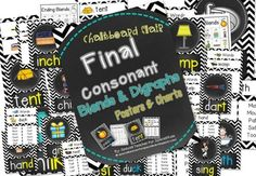 CHEVRON & CHALKBOARD **FINAL CONSONANT BENDS/DIGRAPHS POSTERS AND CHARTS** - $