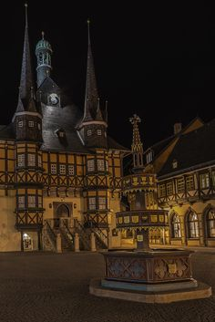 "willkommen-in-germany: ""Town hall and market place. Wernigerode is a small town in the Harz Mountains of Sachsen-Anhalt, Central Eastern Germany, population: ~ 35,000. The German Timber-Frame Road (Deutsche Fachwerkstraße) runs by here, it's a..."