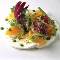 Buffalo mozzarella and colorful beets give a twist on a classic Italian dish at SD26.