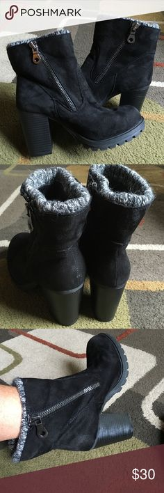 "Mossimo booties All man-made material suede like style with dark silver zippers zippers are on both sides of boot built-in grey boot topper heel is 3.5""  total height of boot is approx. 9""  excellent condition Mossimo Supply Co Shoes Ankle Boots & Booties"