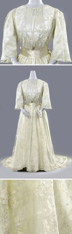 Wedding dress ca. 1889-92. Dress made entirely of Brussels appliqué. This type of lace consists of machine-made tulle onto which separately made decorative bobbin lace ornaments are sewn by hand. This involves less work than making a bobbin lace dress and is therefore cheaper. Lace wedding dresses are rare and were not only passed down, but later collected. Rijksmuseum