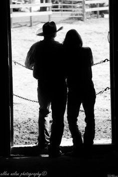 Looking out Barn country engagement photo
