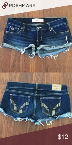 Hollister brand cut off shorts with frayed edges Hollister brand dark jean cutoffs with cuff and frayed edges. Low rise and very short inseam. Quite a bit of stretch for added comfort. Hollister Shorts Jean Shorts
