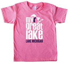 A great gift for the Lake Michigan-loving kid in your life! This My Great Lake Kids T-Shirt is cozy and bright in Heather Pink or Heather Blue!