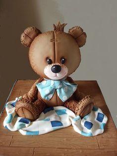 Teddy Bear Party, Teddy Bear Cakes, Fondant Teddy Bear, Fondant Animals, Clay Animals, Baby Shower Sweets, Baby Shower Cakes, Clay Projects, Clay Crafts