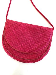 Vintage Pink Straw PURSE  BLOOMINGDALES by Cora Jacobs 1960's Made in Philippines by VintageCommon on Etsy