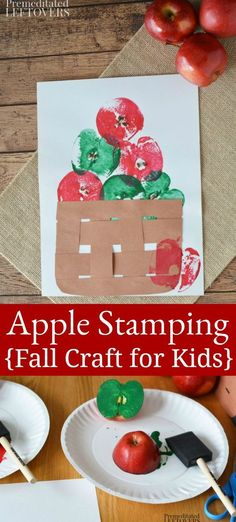 Fun Apple Stamping Craft for kids! This stamping craft is a fun way to paint wit.Fun Apple Stamping Craft for kids! This stamping craft is a fun way to paint with apples. It's also a frugal and easy activity for kids! Fall Arts And Crafts, Fall Crafts For Kids, Fun Crafts, Art For Kids, Simple Crafts, Kids Diy, Fall Toddler Crafts, Crafts For Babies, Decor Crafts