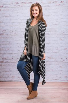 """""""Oh So Perfect Cardigan, Black"""" This cardigan really is oh so perfect for fall! It's fabric is amazingly soft and the fabric is light weight. We are loving the dramatic length too!  #newarrivals #shopthemint"""