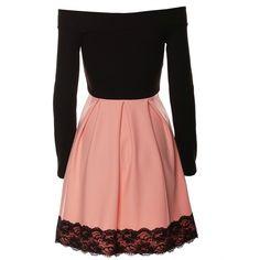 Angela Skater Dress in Blush ($45) ❤ liked on Polyvore featuring dresses, long-sleeve skater dresses, long sleeve dress, open shoulder dress, skater dress and cut out shoulder dress
