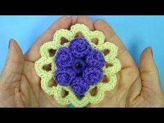 Круглый Цветочный мотив крючком урок вязания 370 - YouTube