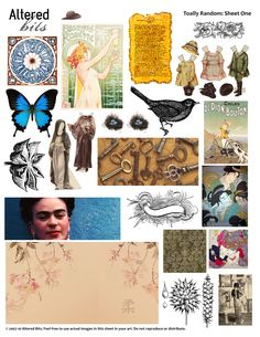 free random-collage-sheet1 FREE Enlargeable to full size sheet. #collage #butterfly #Oriental