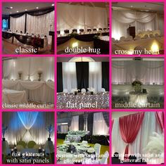 head table backdrop styles- easy to customize with color