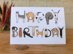 Perfect card to say Happy Birthday for the cat lover!  ・Based on my original illustration and professionally printed in the UK. ・Blank inside for your own message. ・Size : A6 ( W 14.8cm x H 10.5cm / 5.82 x 4.13)  This card is printed on 280gsm slightly textured paper and comes with recycled brown envelope in a cellophane bag. It will be delivered in a hardbacked envelop.   Thank you so much for looking