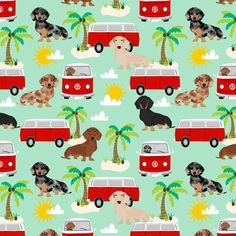 dachshund summer fabric hippie bus dog fabric palms - mint by petfriendly Mini Dachshund, Daschund, Hot Dogs, Beach Fabric, Diy Y Manualidades, Pet Life, Dog Pictures, Puppies, Weiner Dogs