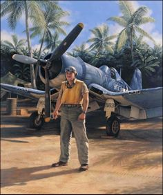 """Pappy Boyington ` WWII Pilot / Air Wing Commander of the """"Black Sheep Squadron"""" """"Cactus Air Force"""". He flew out of Guadalcanal, (Solomon Islands) and Bougainville Island (New Guinea).an American Hero! Ww2 Aircraft, Fighter Aircraft, Military Aircraft, Fighter Pilot, Fighter Jets, Black Sheep Squadron, Photo Avion, Airplane Art, Ww2 Planes"""