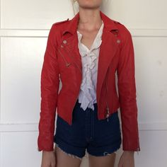 Zara red leather jacket Cherry red biker jacket, like brand new.size small. Great detailing on the front with a full zipper, and bunched side details. A party starter for sure Zara Jackets & Coats
