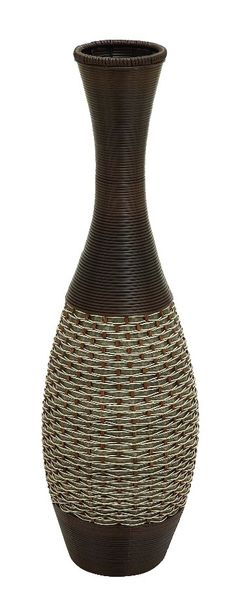Sleek Wood Medium Vase Rope Accent Brown Family D | Furniture, home decor, wall decor, rugs, lamps, lighting outlet.