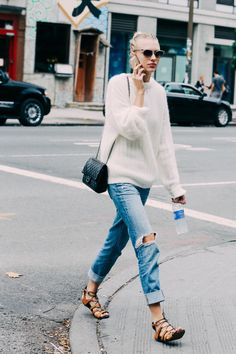 sweater, distressed boyfriend jeans, lace up flats, crossbody bag