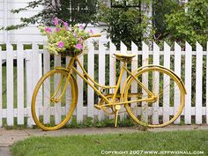 Bicycle with Flowers, Rhinebeck, New York by Jeff Wignall, via Flickr- obviously in your colors and flowers and fuller more draping...