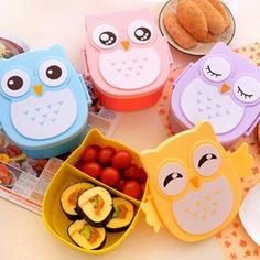 Lunch Box Cute Cartoon Owl Plastic Food Container Bento Contain School 1050ml  #Unbranded