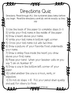 FREE TRICKY Following Directions Quizzes~  A fun way to remind students about the importance of following directions!