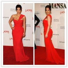 MANSA Vestido De Festa 2014 Kim Kardashian Dress Mermaid  Floor Length Red Coral Chiffon Evening Celebrity Red Carpet Dresses