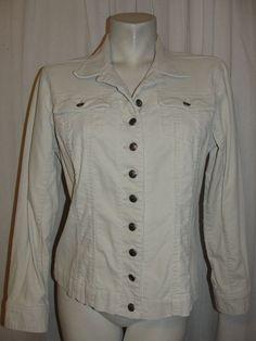 CHICO'S Womens 8/10 Stone Ivory Corduroy Long Sleeve Button Tab Jacket Size 1 M #Chicos #BasicJacket #Casual