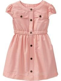 Button-Front Dobby Dresses for Baby