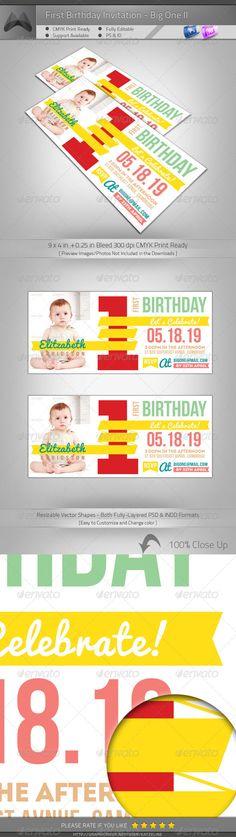 My First Birthday Invitation - Big One Collage Template, Postcard - birthday invitation card template photoshop