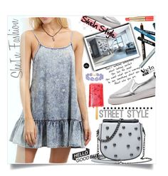 """SheIn Denim Dress"" by lillili25 ❤ liked on Polyvore featuring Styli-Style, Estée Lauder, BaubleBar, Sheinside, polyvoreeditorial and shein"