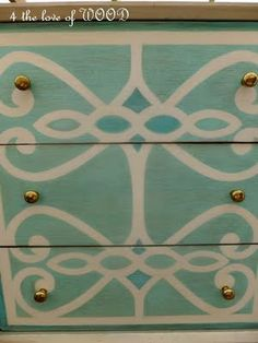 4 the love of wood: QUESTIONS ANYONE - turquoise and white designed dresser