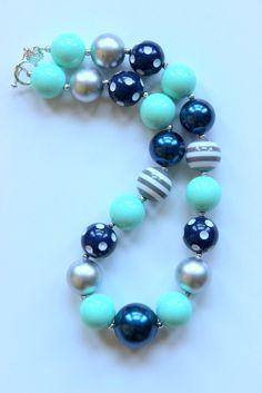 girls chunky necklace bubblegum bead necklace by LightningBugsLane