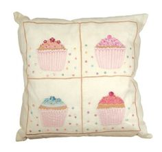 Cupcake cushion cover. Facebook.com/beehappyflowers