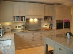 Nice colour fir units - Hand painted in Farrow & Ball's Elephant's Breath and the island in French Grey. Kitchen Family Rooms, Kitchen Living, New Kitchen, Kitchen Decor, Kitchen Ideas, Shaker Kitchen, Kitchen Units, Kitchen Cabinets, Open Plan Kitchen Diner