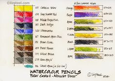 Liz Steel: Watercolour Pencils - chart of colors and GREAT tips for using them when quick sketching.