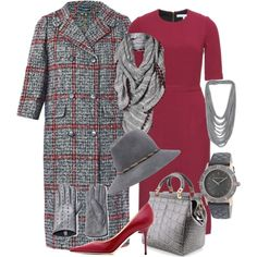 """""""Grey and Cranberry"""" by cavell on Polyvore"""