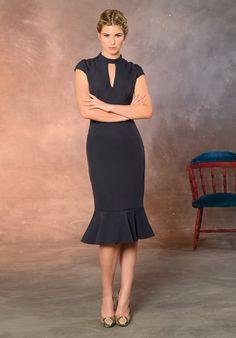 Vestido lápiz. Vestido fondo de armario Vestido azul de otoño Working girl. Whislist dress.