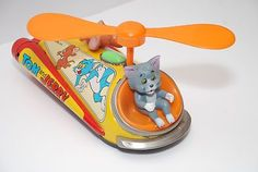 Tom Jerry Vintage Tin Toy Helicopter Battery Operated