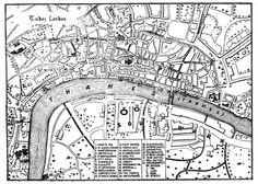 Map of Elizabethan London with landmarks.