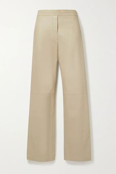 Beige Tristan leather straight-leg pants | Joseph | NET-A-PORTER Joseph Clothing, Straight Leg Pants, Clothing Items, Fashion Advice, Collars, Tees, Shirts, Khaki Pants, Menswear