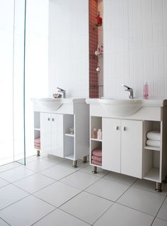 Instead of white tiles throughout opt for solid coloured ones such as these in a dusty pink that are perfect for a feminine Feminine Bathroom, Color Pop, Colour, White Tiles, Dusty Pink, Be Perfect, House Colors, Double Vanity, Home