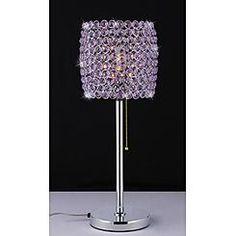 Warehouse of Tiffany Cleopatra Purple Crystal-Chrome Table Lamp