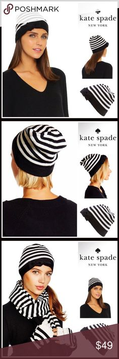 KATE SPADE Cap Hat Beanie 💟NEW WITH TAGS💟  RETAIL PRICE: $58   KATE SPADE Cap Hat Beanie  * Super soft striped knit construction  * Rib trim cuff  * Stretch-to-fit style, one size fits most  * Cozy & comfortable  * Bow detail  * Well made   Fabric- 100% wool (not scratchy)  Color- Black & white Item#: SEARCH# Pom Pom   🚫No Trades🚫 ✅ Offers Considered*✅  *Please use the blue 'offer' button to submit an offer kate spade Accessories Hats
