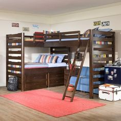 Sleep three children in the corner of this room and save space with the Studio Triple Corner Loft Bed.
